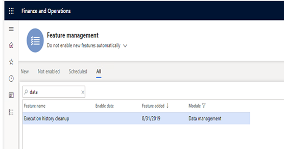 Data management cleanup feature